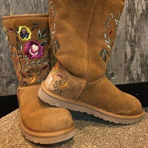 UGG Juliette embroidered brown boots